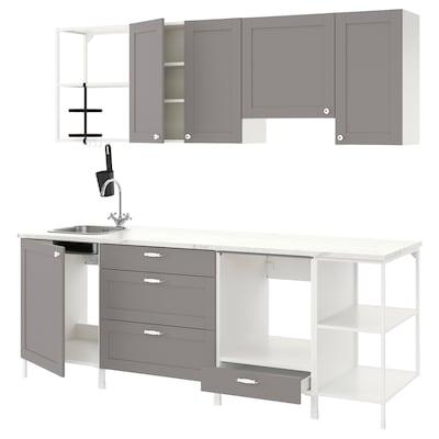 ENHET Cucina, bianco/grigio cornice, 243x63.5x222 cm