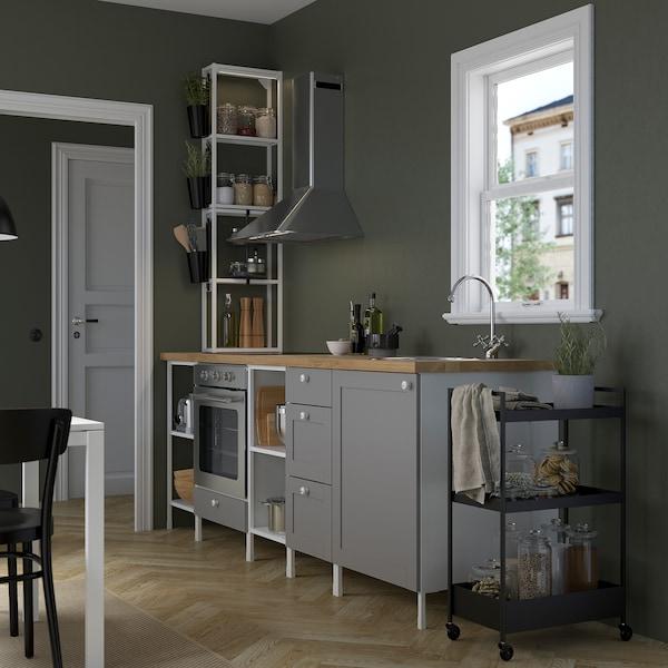 ENHET Cucina, bianco/grigio cornice, 243x63.5x241 cm