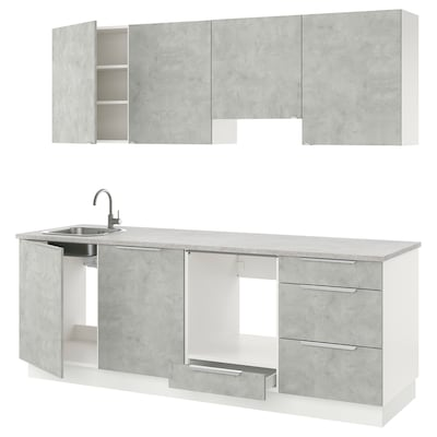 ENHET Cucina, effetto cemento, 243x63.5x222 cm