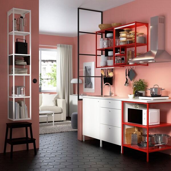 ENHET Cucina, rosso/bianco, 183x63.5x222 cm
