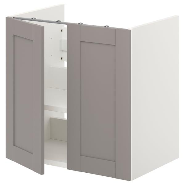 ENHET Mobile per lavabo con ripiano/ante, bianco/struttura grigia, 60x40x60 cm