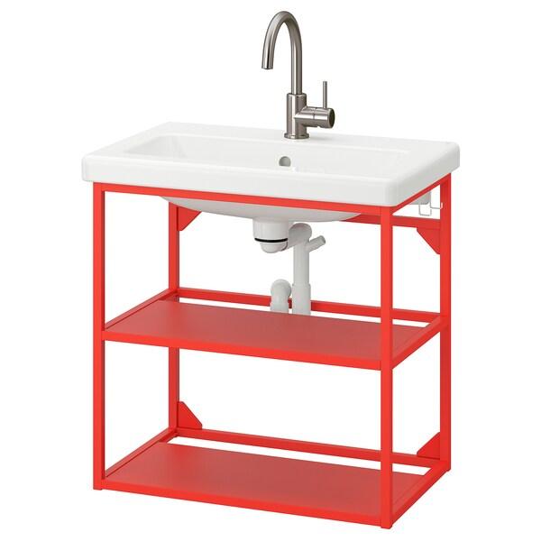 ENHET / TVÄLLEN Mobile lavabo a giorno/2 ripiani, rosso-arancione/Miscel Glypen, 64x43x65 cm