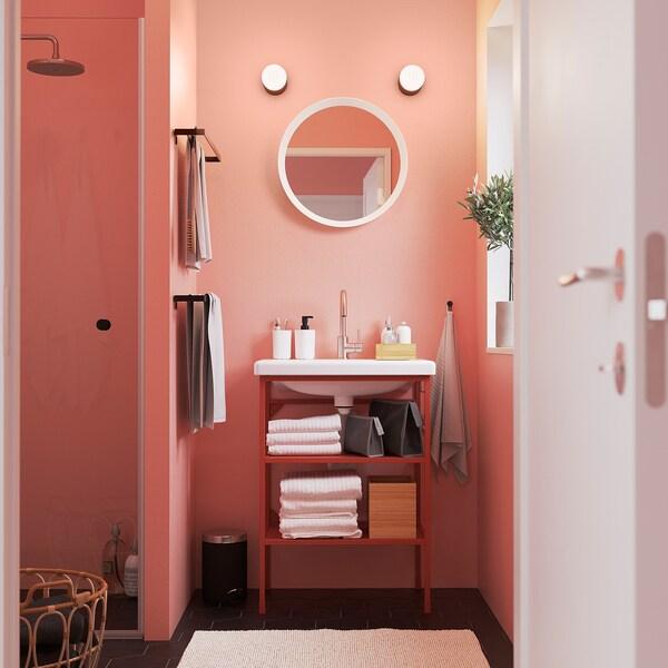 ENHET / TVÄLLEN Mobile lavabo a giorno/2 ripiani, rosso-arancione/Miscel Glypen, 64x43x87 cm