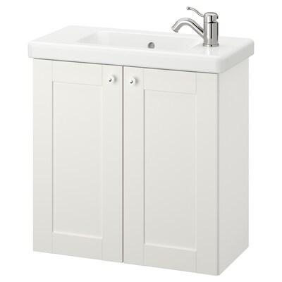 ENHET / TVÄLLEN Mobile per lavabo con 2 ante, bianco cornice/bianco Miscel Hamnskär, 64x33x65 cm