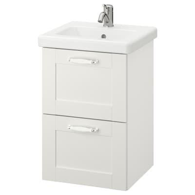 ENHET / TVÄLLEN Mobile per lavabo con 2 cassetti, bianco cornice/bianco Miscel Hamnskär, 44x43x65 cm