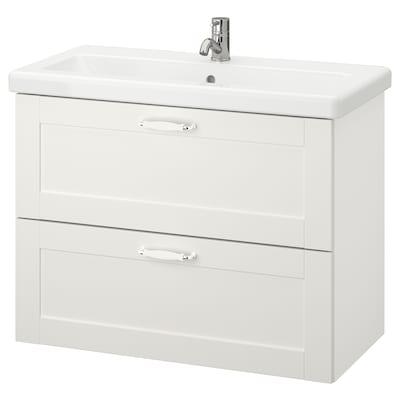 ENHET / TVÄLLEN Mobile per lavabo con 2 cassetti, bianco cornice/bianco Miscel Pilkån, 84x43x65 cm