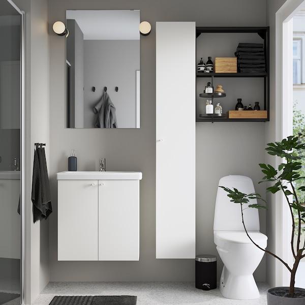 ENHET / TVÄLLEN Set arredo bagno, 13 pezzi, bianco/antracite Miscel Pilkån, 64x43x65 cm