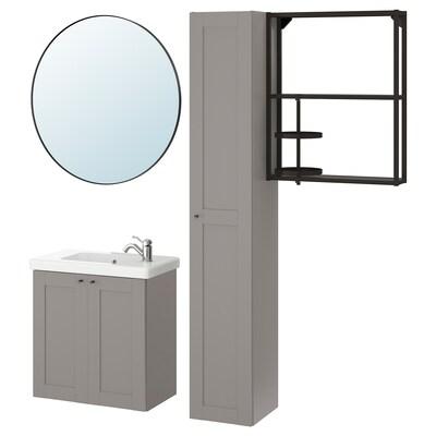 ENHET / TVÄLLEN Set arredo bagno, 13 pezzi, grigio cornice/antracite Miscel Hamnskär, 64x33x65 cm