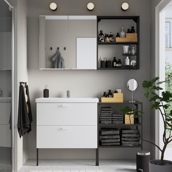 ENHET / TVÄLLEN Set arredo bagno, 15 pezzi, bianco/antracite Miscel Pilkån, 142x43x87 cm