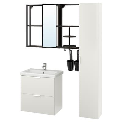 ENHET / TVÄLLEN Set arredo bagno, 18 pezzi, bianco/antracite Miscel Ensen, 64x43x65 cm