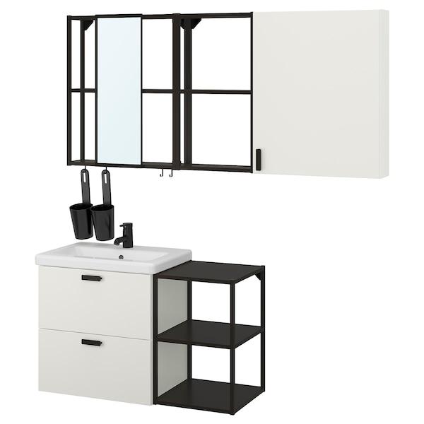 ENHET / TVÄLLEN Set arredo bagno, 18 pezzi, bianco/antracite Miscel Saljen, 102x43x65 cm