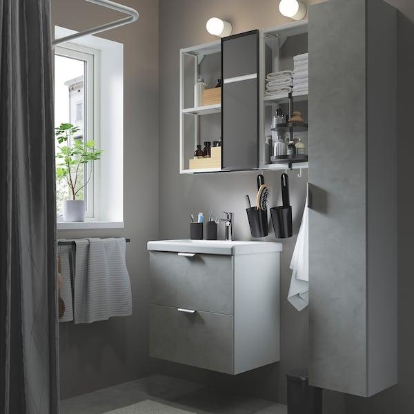 ENHET / TVÄLLEN Set arredo bagno, 18 pezzi, effetto cemento/bianco Miscel Brogrund, 64x43x65 cm