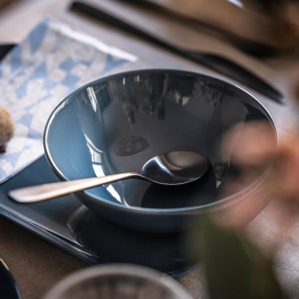 FÄRGKLAR Ciotola, lucido turchese scuro, 16 cm