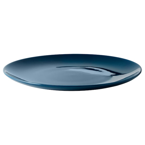 FÄRGRIK Piatto, terraglia/turchese scuro, 27 cm