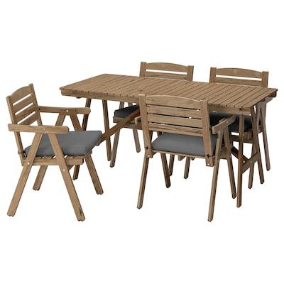 FALHOLMEN tavolo+4 sedie braccioli, giardino mordente marrone chiaro/Frösön/Duvholmen grigio scuro