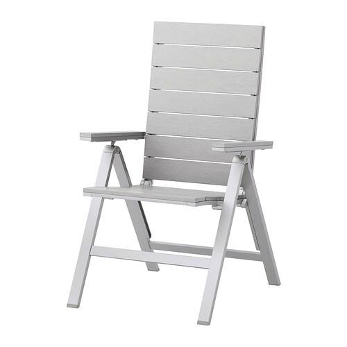 falster sedia reclinabile da giardino pieghevole grigio