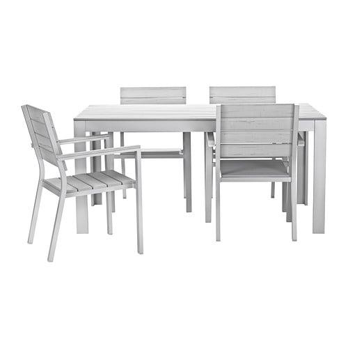 Falster tavolo 4 sedie braccioli giardino grigio ikea - Sedie con braccioli ikea ...