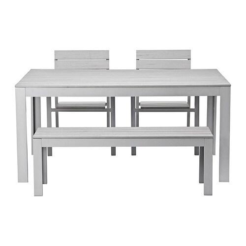 Falster tavolo 2 sedie panca da giardino grigio ikea for Ikea panca bagno