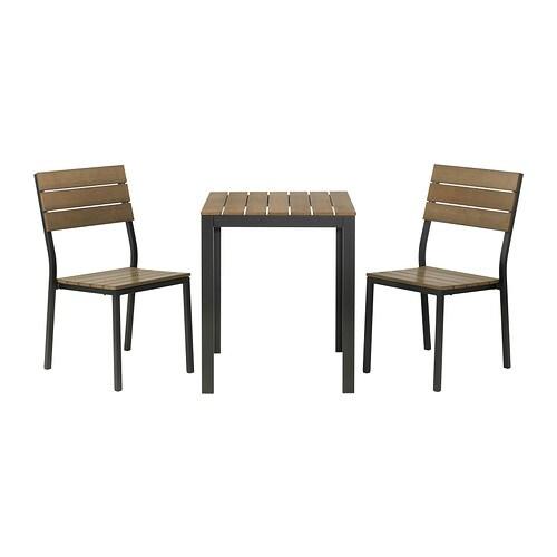 Falster tavolo 2 sedie da giardino nero marrone ikea for Sedie giardino ikea