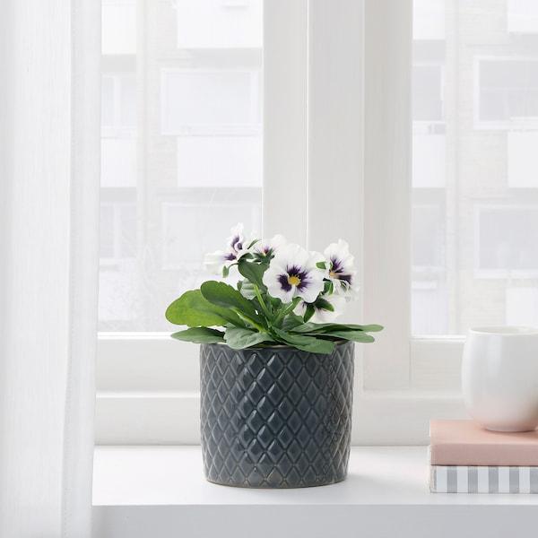 FEJKA pianta artificiale con vaso da interno/esterno viola del pensiero/bianco 9 cm 16 cm