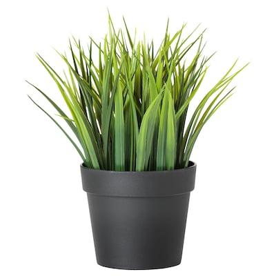 FEJKA Pianta artificiale con vaso, da interno/esterno erba, 9 cm