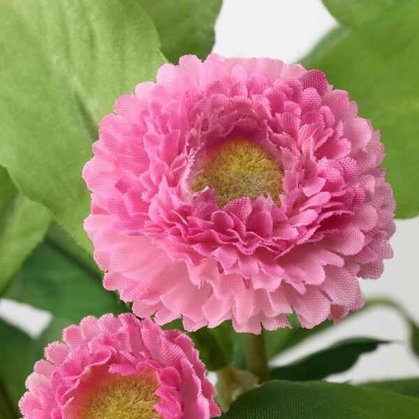 FEJKA Pianta artificiale con vaso, da interno/esterno/Margherita comune rosa, 12 cm