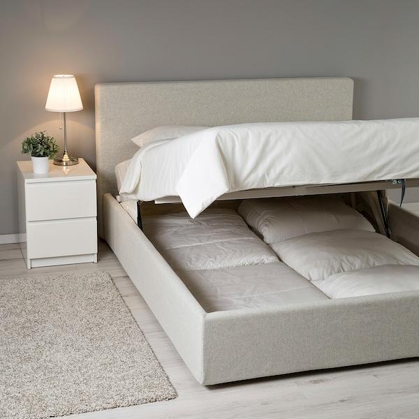 Letto Matrimoniale Ikea Con Materasso.Fetsund Struttura Letto Con Contenitore Gunnared Beige 160x200