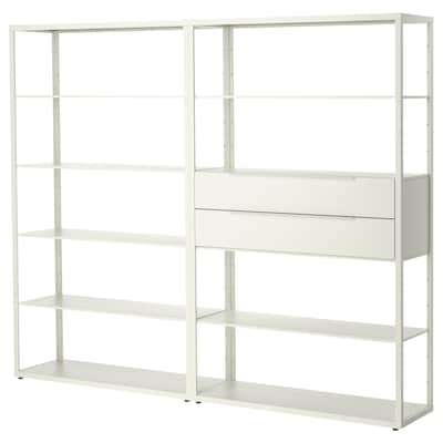 FJÄLKINGE Scaffale con cassetti, bianco, 236x35x193 cm