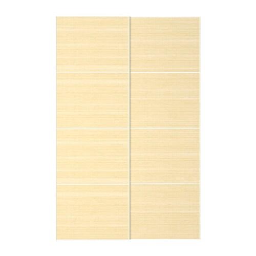 Sistema Ante Scorrevoli Ikea.Fjellhamar Coppia Di Ante Scorrevoli Bambu Chiaro