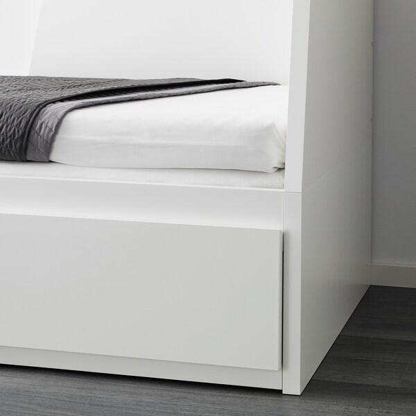FLEKKE Letto divano/2 cassetti/2 materassi, bianco/Malfors rigido, 80x200 cm