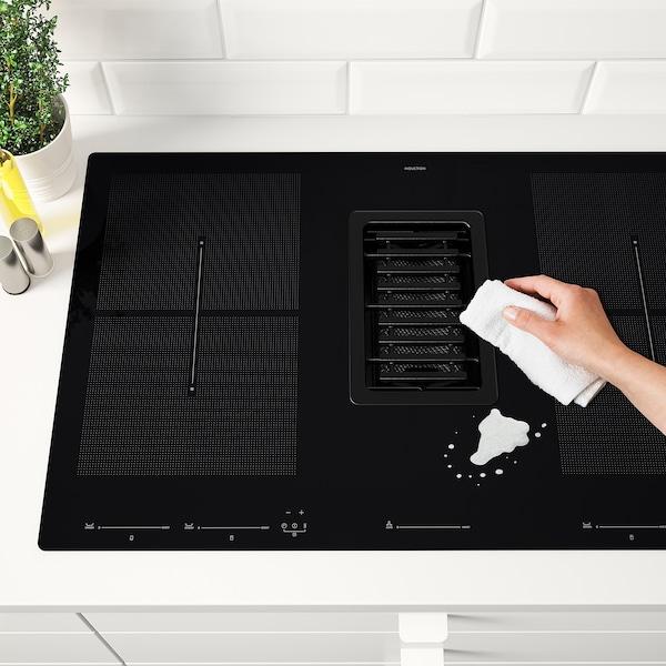 FÖRDELAKTIG Piano cottura induzione/cappa integ, IKEA 700 nero, 83 cm