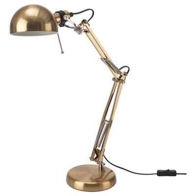 FORSÅ Lampada da lavoro, color ottone
