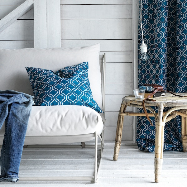 FORTSKRIDA Fodera per cuscino, blu/beige, 50x50 cm