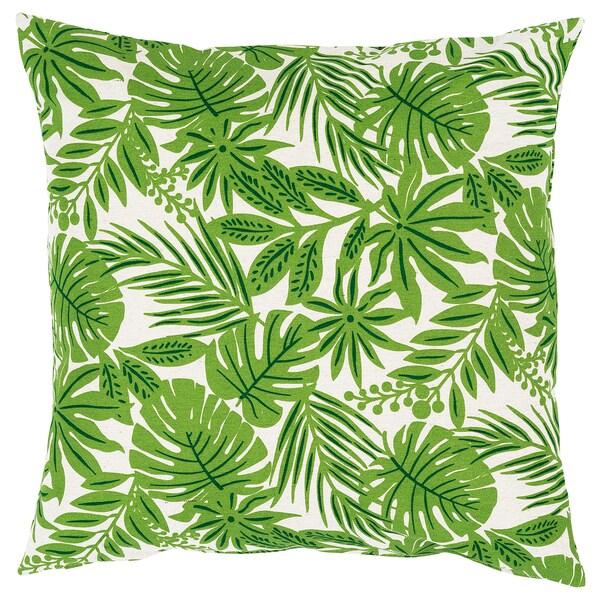 FORTSKRIDA Fodera per cuscino, verde-beige, 50x50 cm