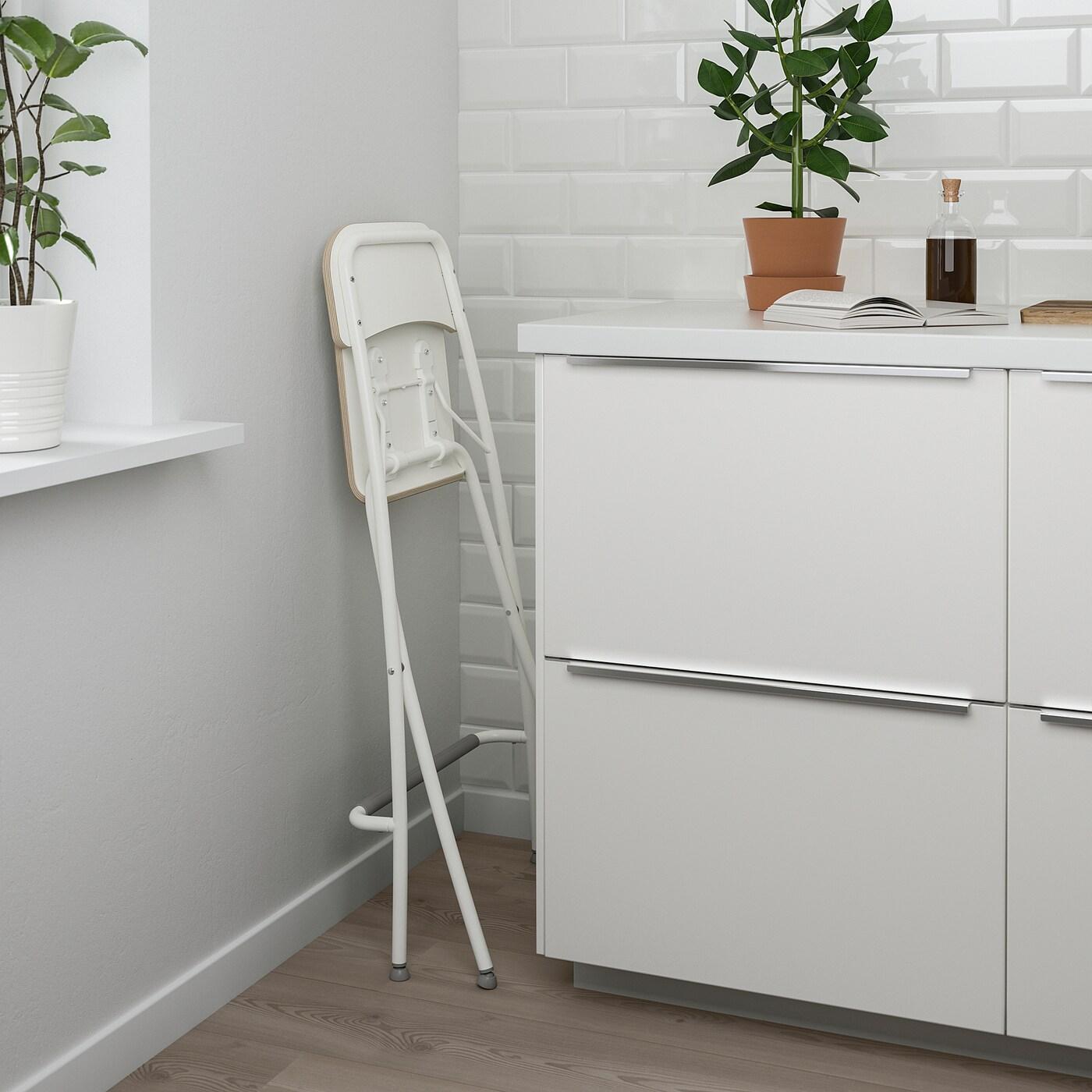 FRANKLIN Sgabello bar con schienale, pieghev bianco, bianco 63 cm