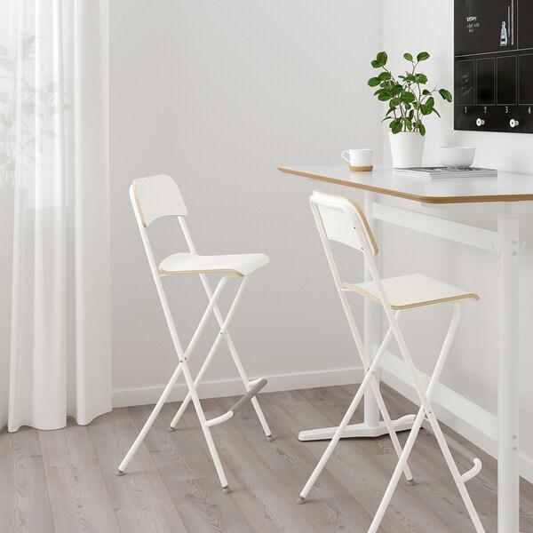 FRANKLIN Sgabello bar con schienale, pieghev bianco, bianco 74 cm