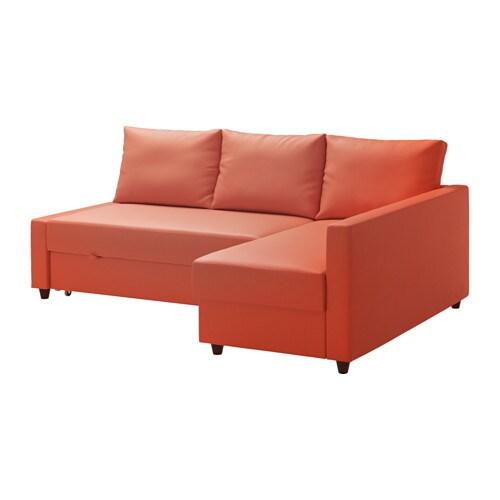 FRIHETEN Divano letto angolare/contenitore - Skiftebo arancione ...