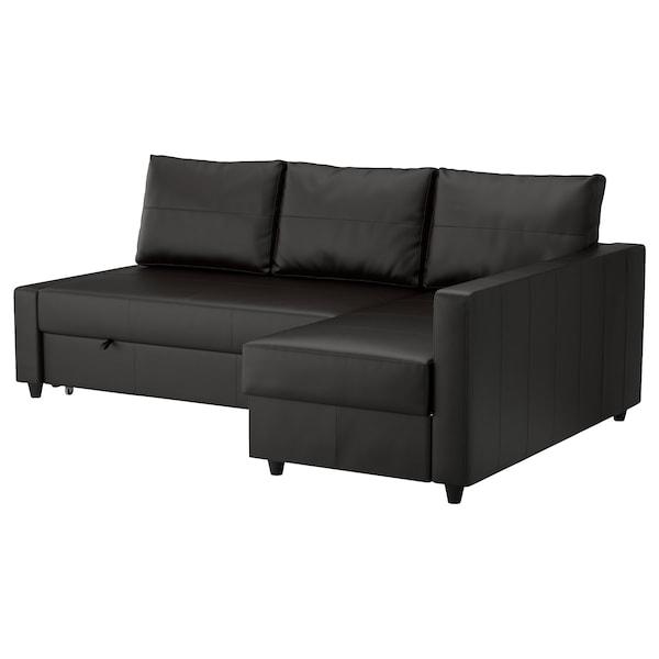 FRIHETEN Divano letto angolare/contenitore, Bomstad nero