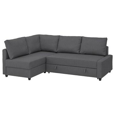 FRIHETEN Divano letto angolare/contenitore, con cuscini schienale extra/Skiftebo grigio scuro