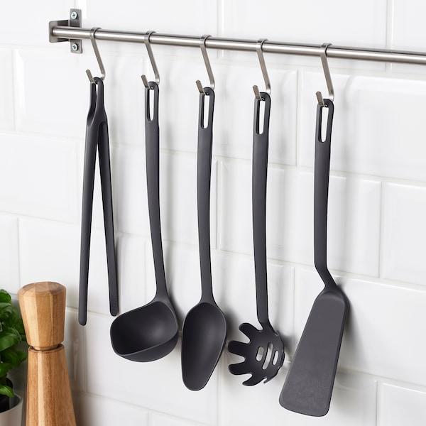 Utensili da cucina, 5 pezzi FULLÄNDAD grigio