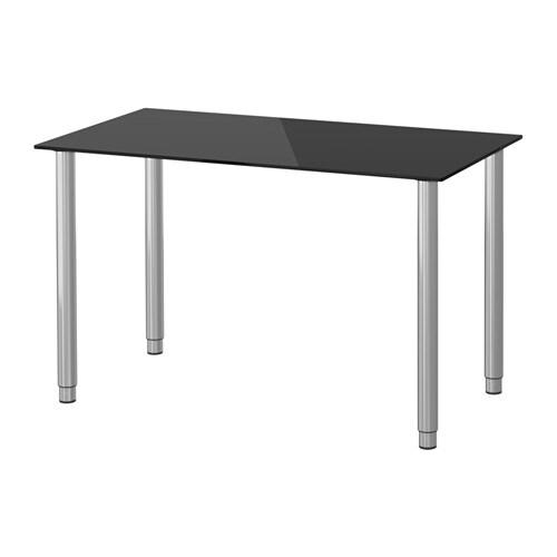 Glasholm olov tavolo vetro nero color argento ikea - Tavolo ikea vetro ...