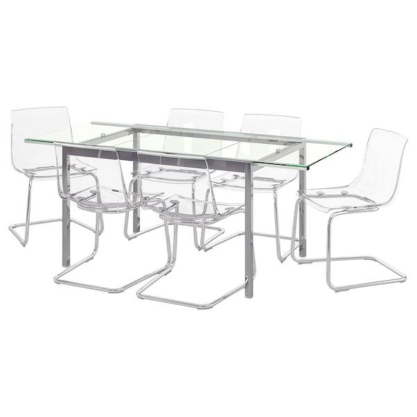 Sedie Plastica Trasparente Ikea.Glivarp Tobias Tavolo E 6 Sedie Trasparente Trasparente Ikea