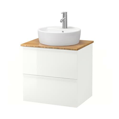 ... TÖRNVIKEN Mobile/lavabo 45/piano bagno - bambù, lucido bianco - IKEA