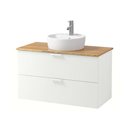... Mobile/lavabo 45/piano bagno - bambù, bianco, 102x49x74 cm - IKEA