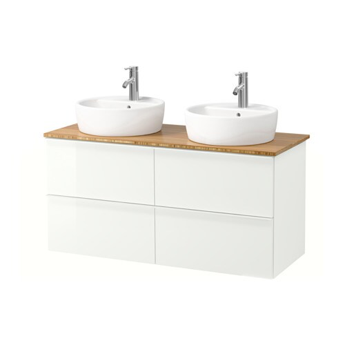 ... TÖRNVIKEN Mobile/lavabo 45/piano bagno - lucido bianco, bambù - IKEA