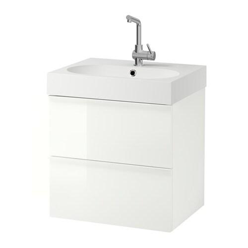 GODMORGON / BRÅVIKEN Mobile per lavabo con 2 cassetti - lucido ...