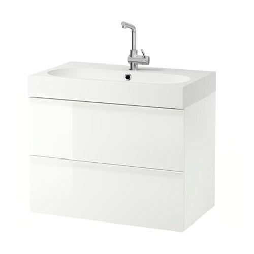 godmorgon br viken mobile per lavabo con 2 cassetti lucido bianco ikea. Black Bedroom Furniture Sets. Home Design Ideas