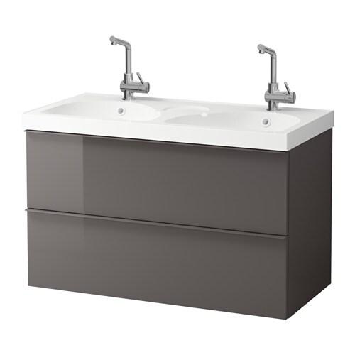 Godmorgon edeboviken mobile per lavabo con 2 cassetti lucido grigio ikea - Ikea mobili per lavabo bagno ...