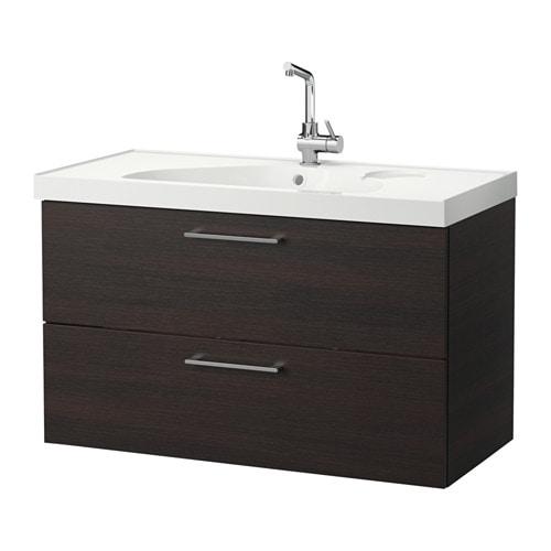 Godmorgon edeboviken mobile per lavabo con 2 cassetti marrone nero ikea - Ikea mobili bagno godmorgon ...