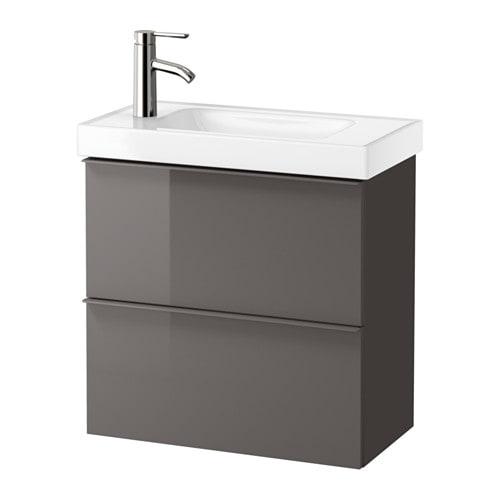 Ikea Frisiertisch Glasplatte ~ GODMORGON  HAGAVIKEN Mobile per lavabo con 2 cassetti  lucido grigio